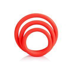 CalExotics Tri-Rings 3 Piece Cock Ring Set - Red