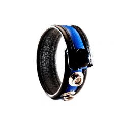 Leather Cock Ring/Strap Black & Blue