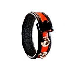 Leather Cock Ring/Strap Black & Red
