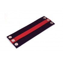 Leather Wrist Band Wallet Black Red - Small