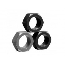 Tom of Finland 3 Piece Hex Nut Cock Ring Set
