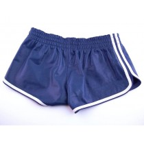 Leather Sports Shorts - Blue/White