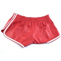 Leather Sports Shorts - Red/White