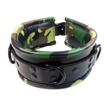 Leather 3 D Ring Padded Collar - Camo